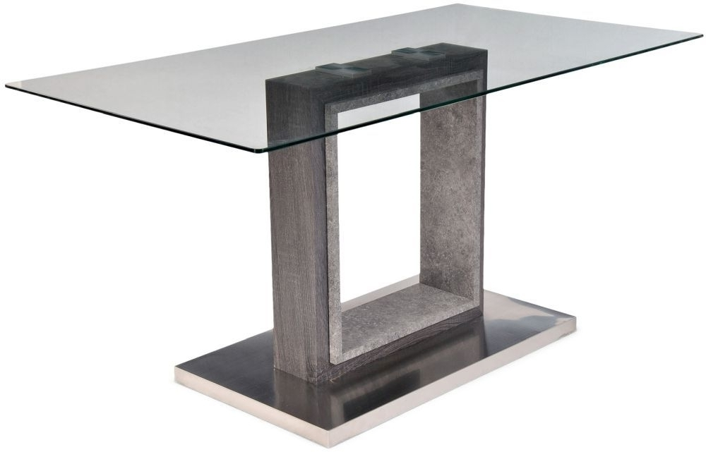 Best And Newest Buy Hilton Grey High Gloss Dining Table With Glass Top – 150Cm Regarding Grey Gloss Dining Tables (View 19 of 20)