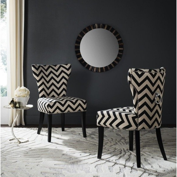 Best And Newest Caira Black 7 Piece Dining Sets With Upholstered Side Chairs Within Shop Safavieh En Vogue Dining Jappic Chevron Black/white Ring Dining (View 1 of 20)