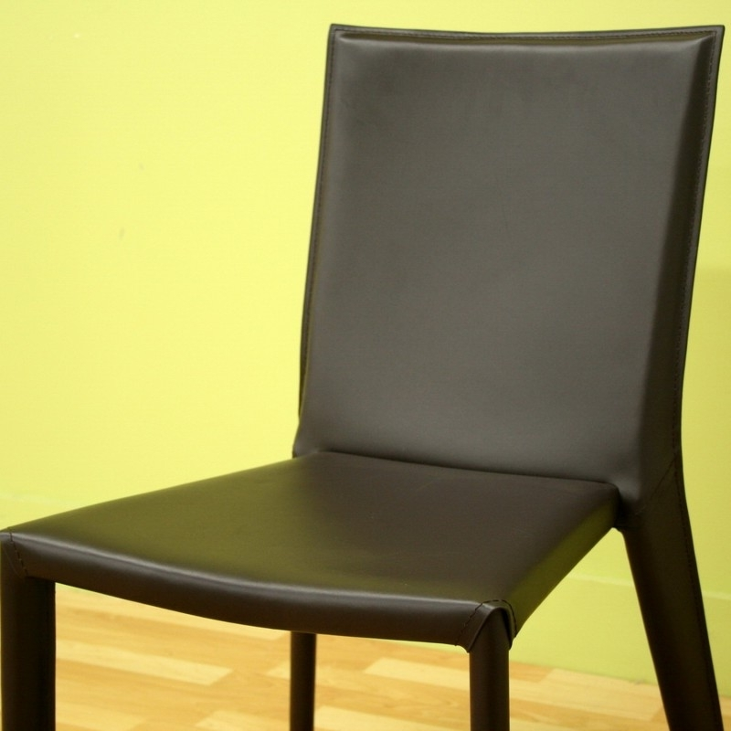 Best And Newest Dark Brown Leather Dining Chairs Pertaining To Semele Dark Brown Leather Dining Chair (View 2 of 20)