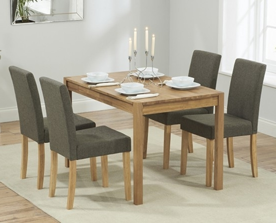 Best And Newest Dining Tables And Fabric Chairs In Promo 120 Cm Solid Oak Dining Table + 4 Maiya Grey Fabric Chairs (View 5 of 20)