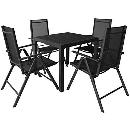 Best And Newest Festnight 5 Piece Aluminium Garden Dining Table And Chairs Set Inside Outdoor Dining Table And Chairs Sets (View 4 of 20)