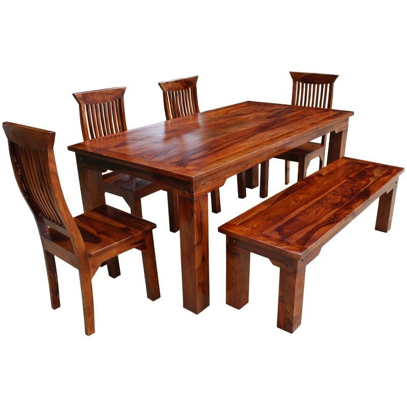 Best And Newest Furniture Three Rustic Wood Dining Benches In Budget Dining Chair Pertaining To Jaxon 6 Piece Rectangle Dining Sets With Bench & Uph Chairs (View 3 of 20)