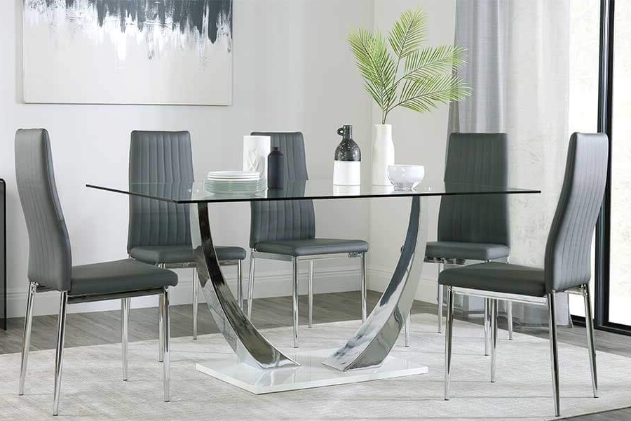 Best And Newest Glasses Dining Tables Inside Glass Dining Table & Chairs – Glass Dining Sets (View 2 of 20)