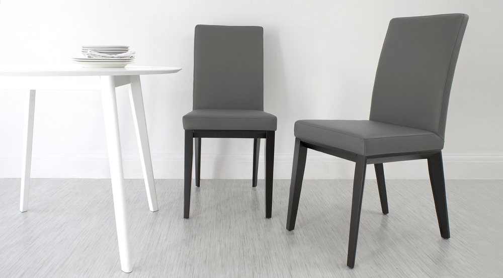 Best And Newest Grey Dining Chairs With Regard To Real Leather Dining Chair With Black Wooden Legs (View 2 of 20)