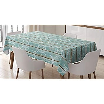 Best And Newest Helms 6 Piece Rectangle Dining Sets With Side Chairs Intended For Amazon: Ambesonne Nautical Tablecloth, Marine Elements Drawn On (View 17 of 20)