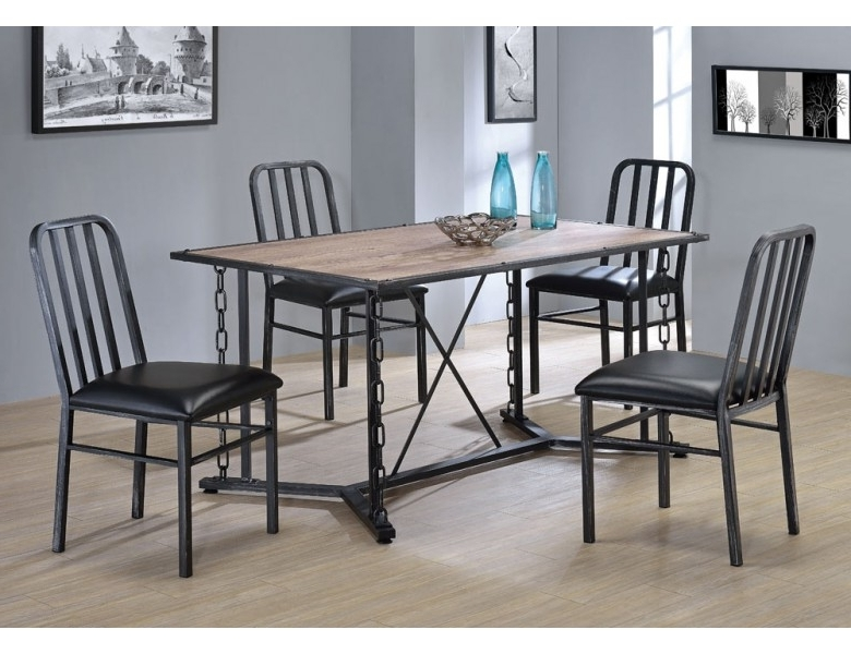 Best And Newest Industrial Style Dining Tables Within Pablo Industrial Style Dining Table Set (View 3 of 20)