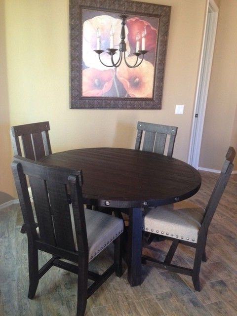 Featured Photo of Jaxon 5 Piece Extension Round Dining Sets With Wood Chairs