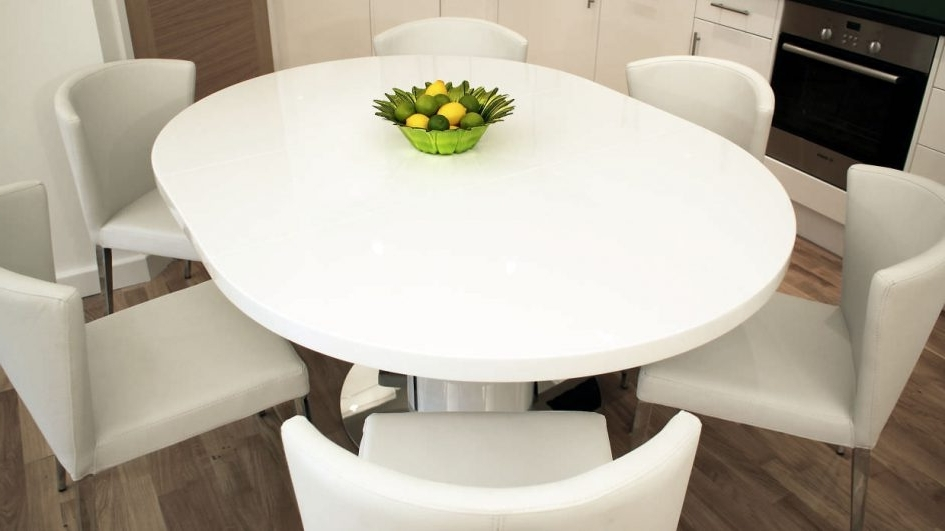 Best And Newest Large White Round Dining Tables Regarding Black Round Dining Table With Leaf Square Extension Dining Table (View 4 of 20)