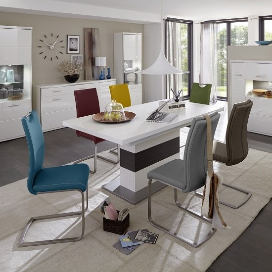 Best And Newest Libya Extendable Dining Table In White With 8 Paulo Chairs Inside Extending Dining Table And Chairs (View 3 of 20)