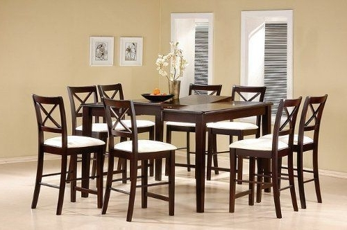 Best And Newest Lindy Espresso Rectangle Dining Tables Regarding 9 Piece Cappuccino Finish Counter Height Dining Set With Butterfly (View 12 of 20)