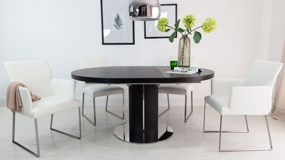 Best And Newest Luxurious Contemporary Black Ash/real Leather Extending Set Pertaining To Extending Black Dining Tables (View 2 of 20)