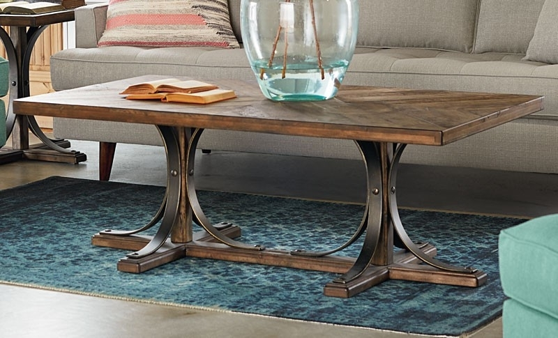 Best And Newest Magnolia Home Sawbuck Dining Tables Pertaining To Iron Trestle Coffee Table – Living Room (View 2 of 20)