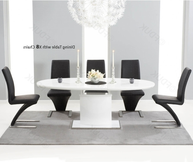 Best And Newest Mark Harris Seville White High Gloss Dining Set – 160Cm Oval With 8 With Oval White High Gloss Dining Tables (View 3 of 20)