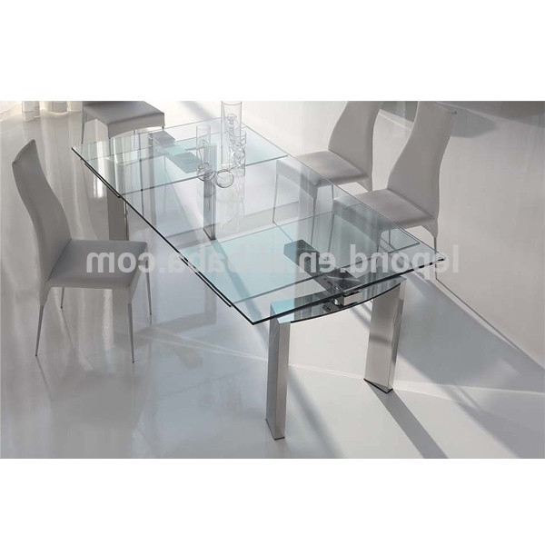 Best And Newest N128 Sharp Glass Extendable Dining Table Designs,new Design Products Intended For Glass Folding Dining Tables (View 2 of 20)