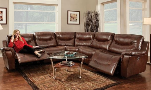Best And Newest Norfolk Grey 6 Piece Sectionals Regarding Franklin Pinehurst 6 Pc Leather Reclining Storage Sectional Sofa (View 12 of 15)
