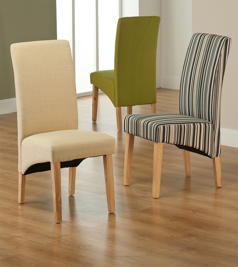 Best And Newest Roma Striped Fabric Dining Chair Regarding Fabric Dining Room Chairs (View 3 of 20)