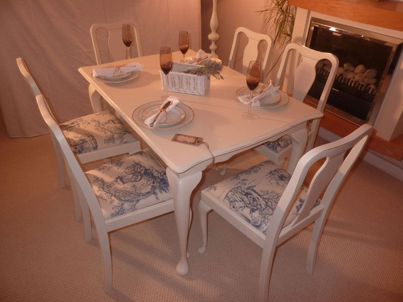 Best And Newest Shabby Chic Extendable Dining Tables In Shabby Chic Extendable Dining Table With 6 Chairs Painted Vintage (View 17 of 20)