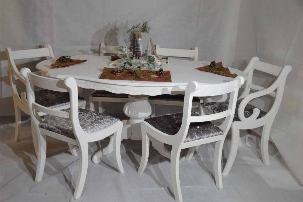 Best And Newest Shabby Dining Tables And Chairs Intended For Shabby Chic Italian Dining Table & 6 Chairs Silver Grey Velvet (View 19 of 20)
