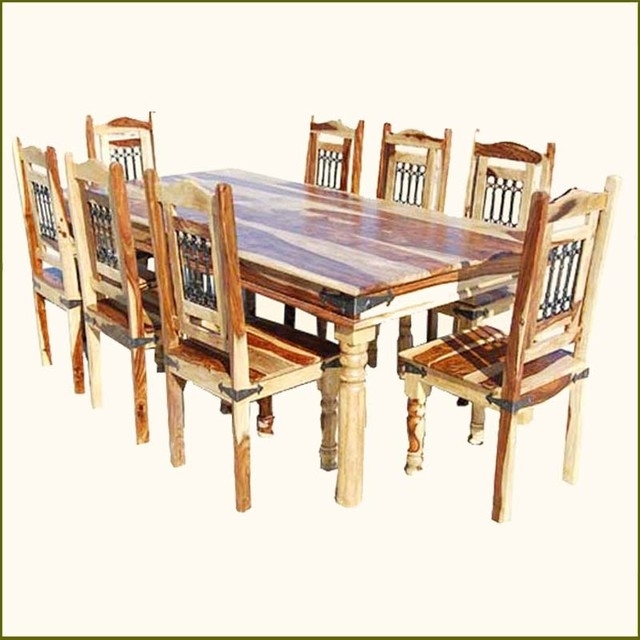 Best And Newest Solid Oak Dining Tables And 8 Chairs Inside Elegant Rustic Solid Wood Dining Table Chairs Set For 8, 8 Chair (View 4 of 20)