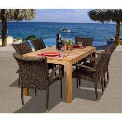 Best And Newest Teak – Patio Dining Furniture – Patio Furniture – The Home Depot Within Outdoor Brasilia Teak High Dining Tables (View 12 of 20)