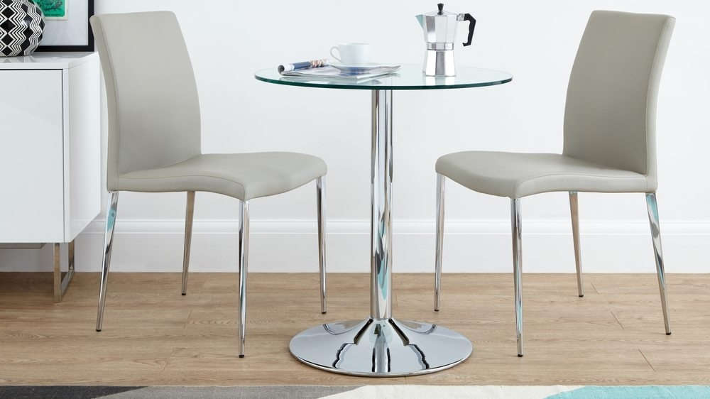 Best And Newest Two Seater Dining Tables Pertaining To Modern Round Glass And Chrome Table (View 4 of 20)
