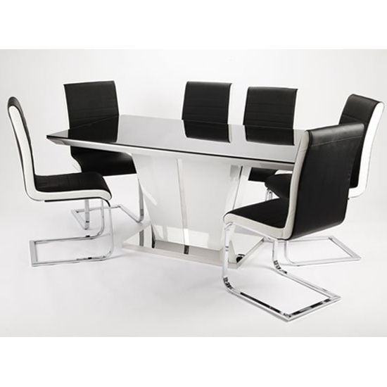 Best And Newest White High Gloss Dining Tables 6 Chairs Regarding Memphis High Gloss Dining Table With Glass Top And 6 Chairs (View 18 of 20)