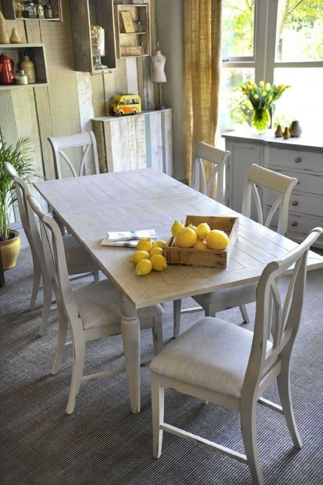 Best And Newest Wiltshire French Grey Extending Dining Table & Six Chairs Within Dining Tables And Six Chairs (View 4 of 20)