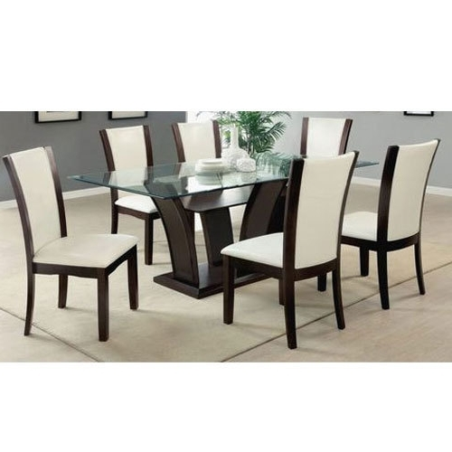 Best And Newest Wooden And Glass Brown And White 6 Seater Dining Table, Rs 8000 /set Within Glass 6 Seater Dining Tables (View 5 of 20)