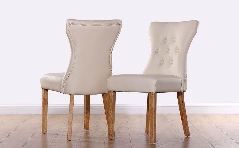 Bewley Leather Button Back Dining Chair – Ivory (Oak Leg) (View 1 of 20)