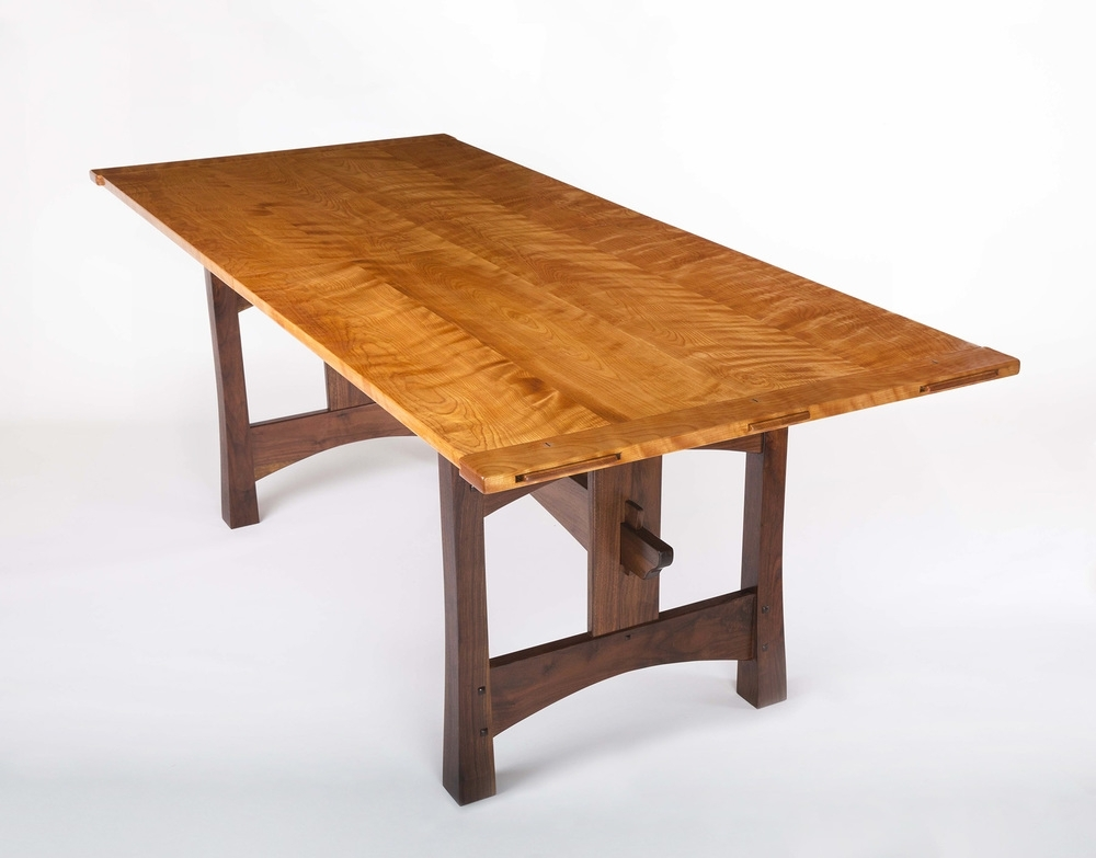 Birch Dining Tables Pertaining To Widely Used Flamed Birch & Walnut Dining Table — Lohr Woodworking Studio (View 14 of 20)