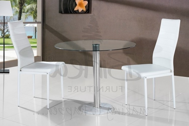 Birlea Romford Glass Dining Table Set With Two Chairs – Whitebirlea With Regard To Latest Dining Tables And Chairs For Two (View 5 of 20)