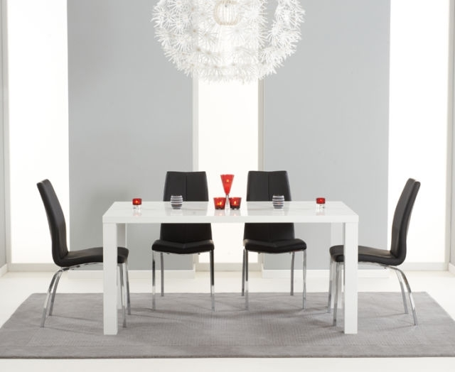Black 8 Seater Dining Tables Throughout Favorite Lisbon 160Cm High Gloss Furniture Black 8 Seater Dining Table Chair (View 5 of 20)