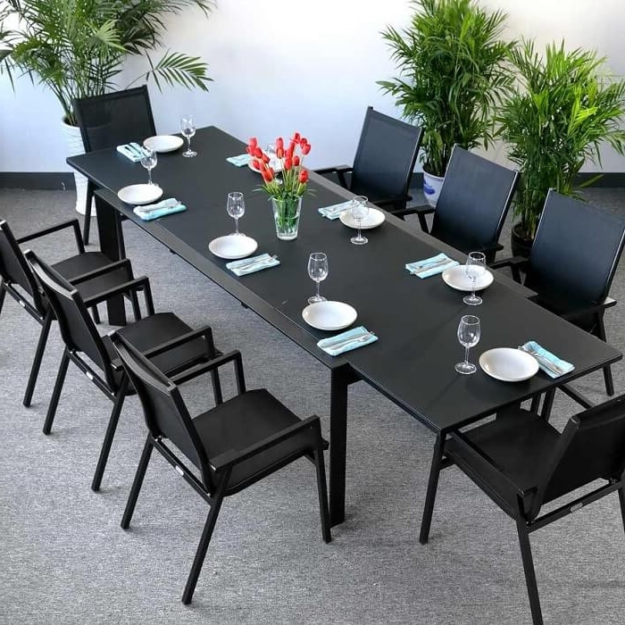 Black 8 Seater Dining Tables With Regard To Most Up To Date Dining Table Set Violet Black – 8 Person Aluminium & Glass Extension (View 7 of 20)