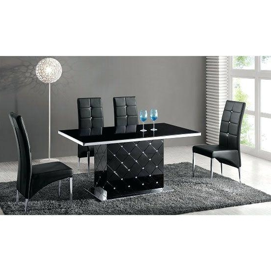 Black And White Dining Table And 6 Chairs Glass Dining Table In Within Well Known Black Gloss Dining Tables And 6 Chairs (View 2 of 20)
