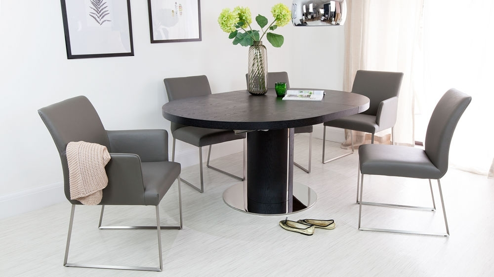 Black Ash Round Extending Dining Table (View 2 of 20)