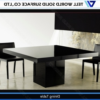 Black Chairs White Artificial Stone Table Modern 8 Seater Dining Throughout 2017 White 8 Seater Dining Tables (View 13 of 20)