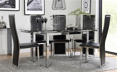 Black Dining Chairs And Their Benefits – Home Decor Ideas Pertaining To Most Recently Released Glass Dining Tables And Chairs (View 9 of 20)