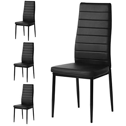 Black Dining Chairs Within Most Popular Amazon – Aingoo Kitchen Chairs Set Of 4 Dining Chair Black With (View 3 of 20)
