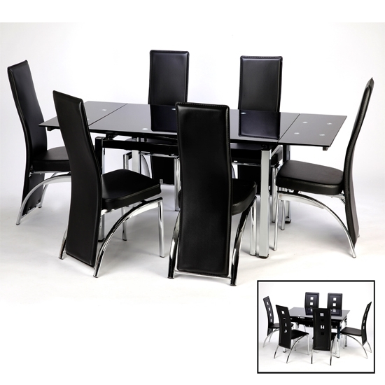 Black Dining Tables Throughout Recent Sarah Extending Dining Table And Chairs In Black  (View 5 of 20)