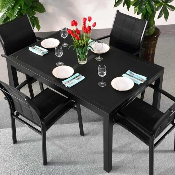 Black Extendable Dining Tables And Chairs With Well Liked Dining Table Set Daisy Black – 4 Person Aluminium & Glass Extension (View 6 of 20)