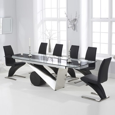 Black Extendable Dining Tables Sets Intended For Best And Newest Perona Black Glass Extending Dining Table With 8 Harvey Black Chairs (View 8 of 20)