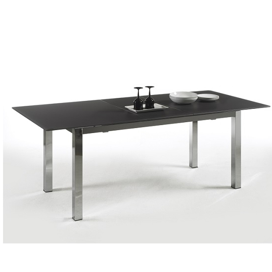 Black Extending Dining Tables Regarding Best And Newest Bentini Extending Dining Table Black Glass And Chrome (View 6 of 20)