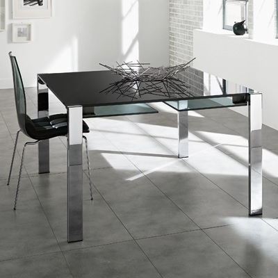 Black Extending Dining Tables Throughout Most Up To Date Livingstone 120Cm Black Glass Square Extending Dining Table (View 7 of 20)