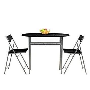 Black Folding Dining Tables And Chairs For Current Fanilife Table Chairs Set Foldable Set Of 3 Pcs Kitchen Metal Frame (View 4 of 20)