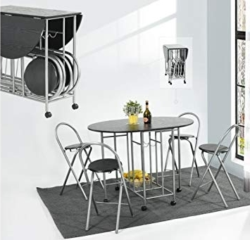 Black Folding Dining Tables And Chairs Throughout Best And Newest Eggree Foldable Dining Table 4 Chairs Set 5pcs Butterfly Kitchen (View 4 of 20)
