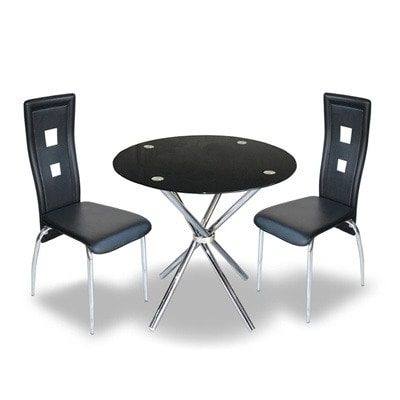 Black Glass Dining Tables And 4 Chairs In Newest Buy Round Glass Dining Table & 4 Chairs – Black (View 19 of 20)