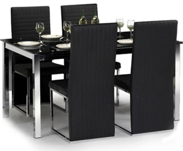 Black Glass Dining Tables And 4 Chairs Within Most Recent Julian Bowen Tempo Glass Dining Table Set With 6 Chairs Black (View 3 of 20)
