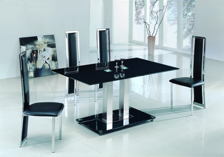 Black Glass Dining Tables And 6 Chairs With Regard To Recent Alba Large Chrome Black Glass Dining Table With Amalia Chairs (View 3 of 20)