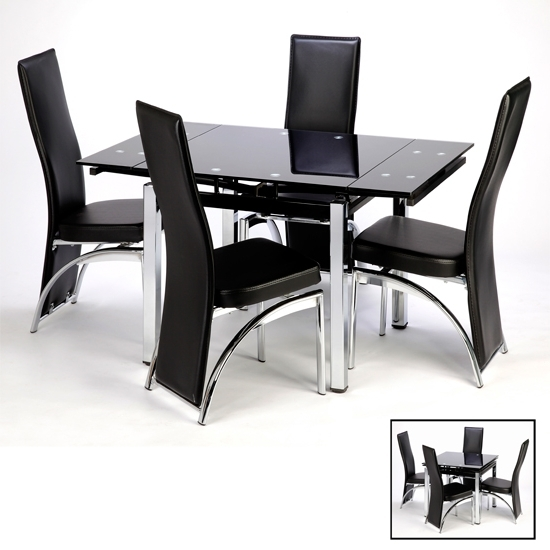 Black Glass Dining Tables In Latest Paris Extending Glass Dining Table With Chrome Legs (View 8 of 20)