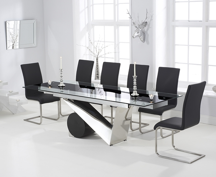 Black Glass Dining Tables Throughout Most Popular Pretoria 170Cm Extending Black Glass Dining Table With Malaga Chairs (View 6 of 20)